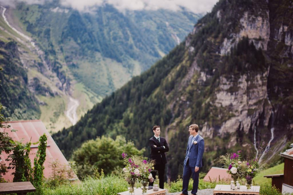 11 mountain wedding switzerland guys waiting 1024x684 - Mountain Wedding Switzerland