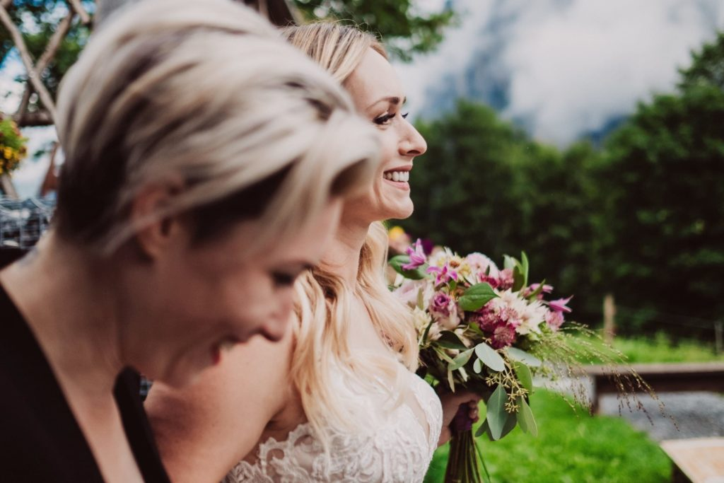 26 mountain wedding switzerland laughing sister 1024x683 - Mountain Wedding Switzerland